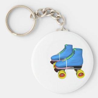 Blue Roller Skates Basic Round Button Keychain