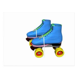 Blue Roller Skates Postcard