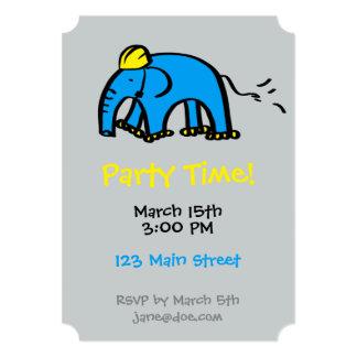 Blue Rollerblading Elephant w/ Yellow Helmet Card