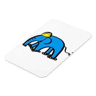 Blue Rollerblading Elephant w/ Yellow Helmet Rectangular Photo Magnet