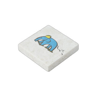 Blue Rollerblading Elephant w/ Yellow Helmet Stone Magnet