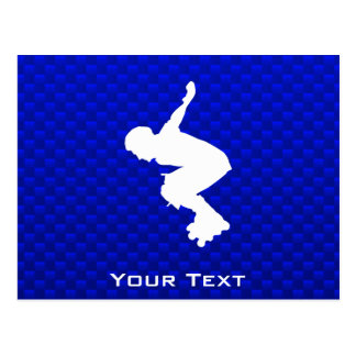 Blue Rollerblading Postcard