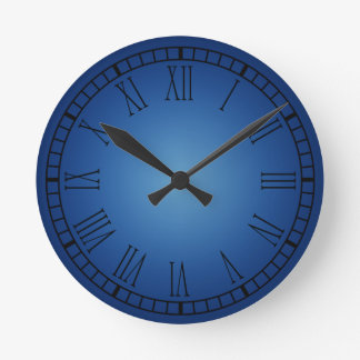 Blue Roman Numeral Clock