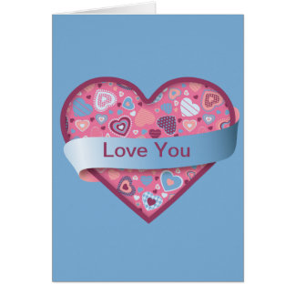 Blue Romance heart with banner, customizable Card