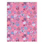 blue romance - tiny hearts pattern post cards