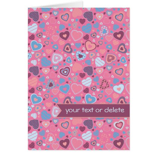 Blue romance - tiny hearts pattern with banner greeting card