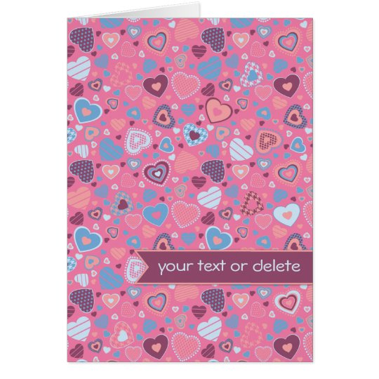 Blue romance - tiny hearts pattern with banner card