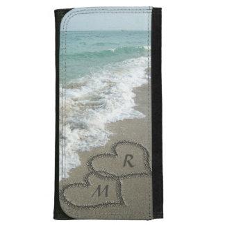 Blue Romantic Beach Hearts Wallet