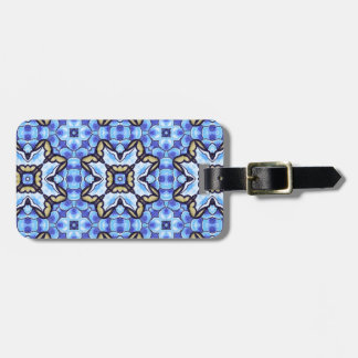 Blue Romantic Moroccan Abstract Floral Pattern Luggage Tag