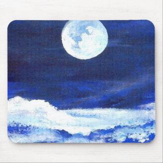 Blue Romantic Sea Waves Moon Ocean Mousepad 1