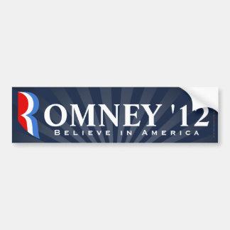 Blue Romney 2012, Believe in America Decal Bumper Sticker