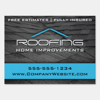 Blue Roofing Professional Yard Sign Medium