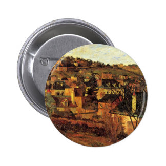 Blue Roofs At Rouen By Gauguin Paul (Best Quality) Button