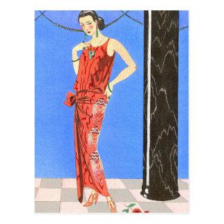 Blue Room Evening Dress by George Barbier Postcard