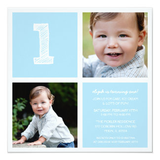 """Blue Room for Squares First Birthday Party Photo 5.25"""" Square Invitation Card"""