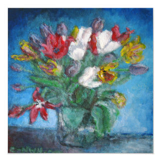 Blue Room Tulip Flowers Bouquet in a Vase Card