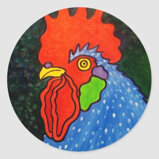 Blue Rooster 14 Round Stickers