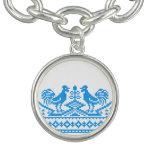 Blue Rooster cross-stitch design Charm Bracelets
