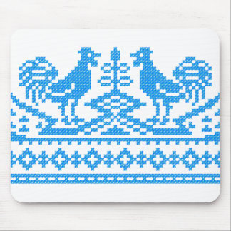 Blue Rooster cross-stitch Mouse Pad