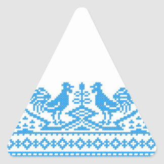 Blue Rooster cross-stitch Triangle Sticker