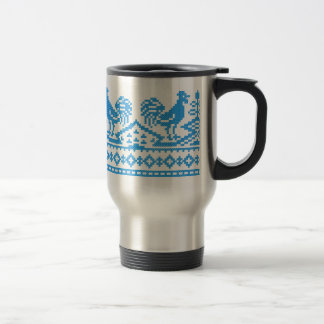 Blue Rooster cross-stitch Travel Mug