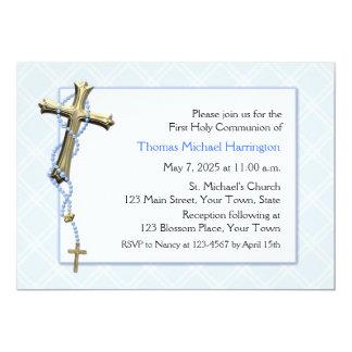 Blue Rosary Beads, Cross, Religious Card