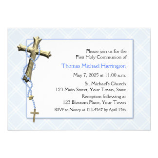 Blue Rosary Beads, Cross, Religious Invitations