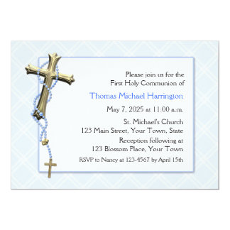 Blue Rosary Beads, Cross, Religious Invitations