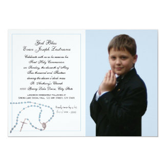 Blue Rosary Communion Photo Card