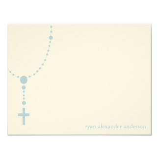 Blue Rosary Custom Baptism Thank You Notes Announcements