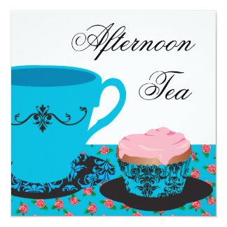 Blue Rose Afternoon Tea 5.25x5.25 Square Paper Invitation Card