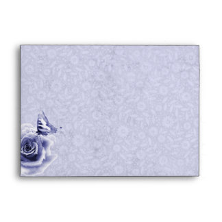 Blue rose and Butterfly Wedding Envelope