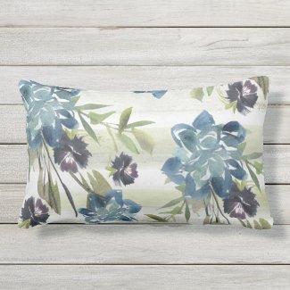 Blue Rose and Cornflower Watercolor Lumbar Pillow