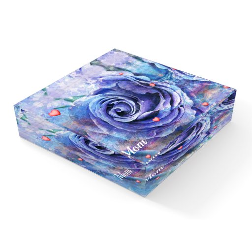 Blue Rose and Hearts Paperweight