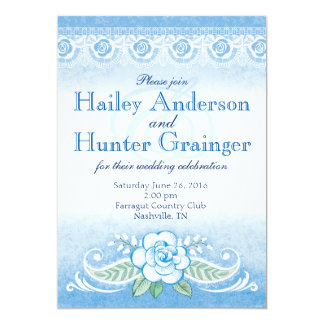 Blue Rose and Lace Wedding Card