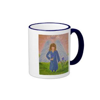 Blue Rose Angel.JPG Ringer Coffee Mug