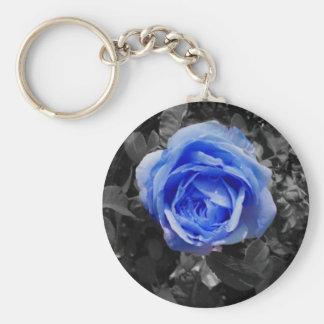 Blue Rose Basic Round Button Keychain