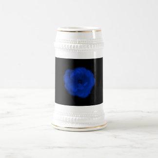 Blue Rose, Black Background. Beer Stein