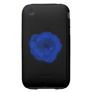 Blue Rose, Black Background. iPhone 3 Tough Case