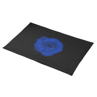 Blue Rose, Black Background. Placemat