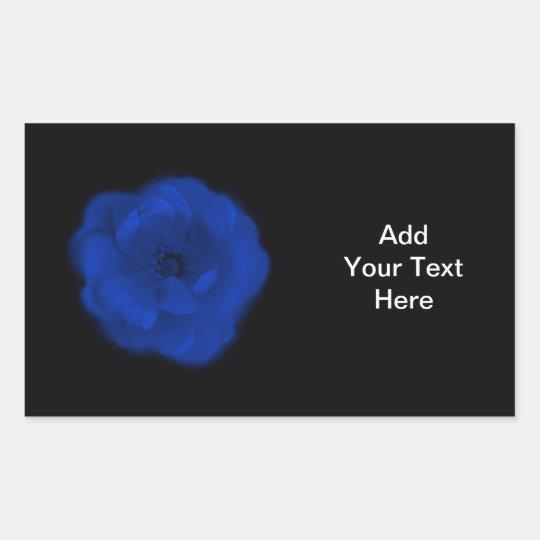 Blue Rose, Black Background. Rectangular Sticker