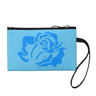 Blue Rose Bloom Customizable Coin Purse
