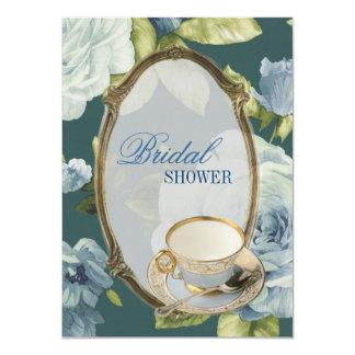 blue rose Bridal Shower Tea Party Invitation