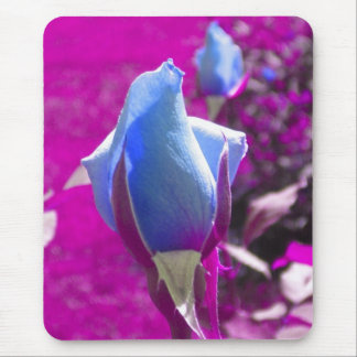 Blue Rose Bud Mouse Pad