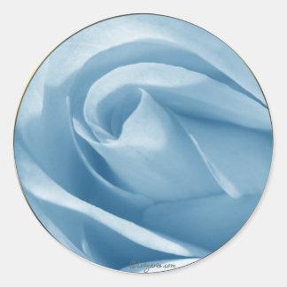 Blue Rose Bud Wedding Invitation Seal Classic Round Sticker