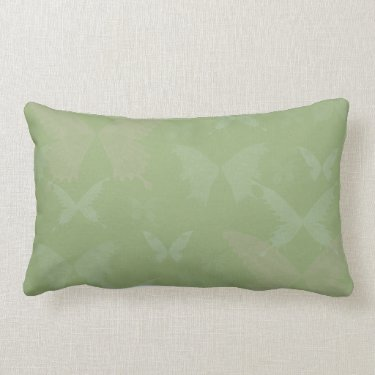 Blue Rose Colored Butterflies on Sage Green Throw Pillows