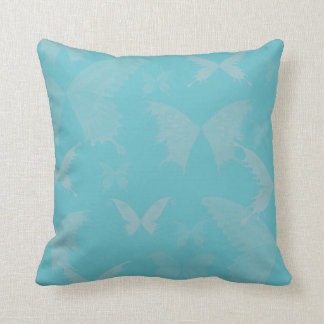 Blue Rose Colored Butterflies on Turquoise Blue Throw Pillow