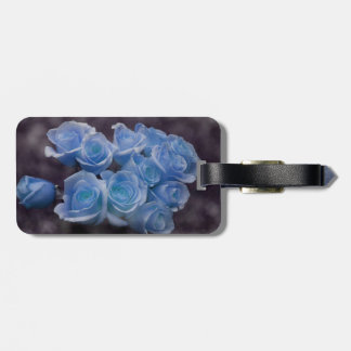 Blue Rose colorized bouquet spotted background Bag Tag