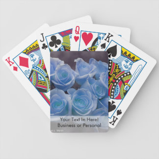 Blue Rose colorized bouquet spotted background Bicycle Playing Cards