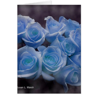 Blue Rose colorized bouquet spotted background Greeting Card